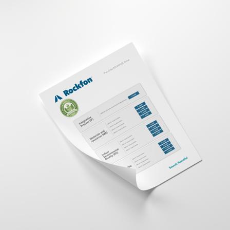 document cover, rockfon, lead, factsheet