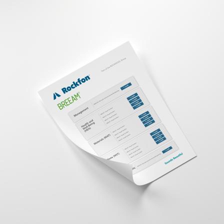 document cover, rockfon, breeam, factsheet