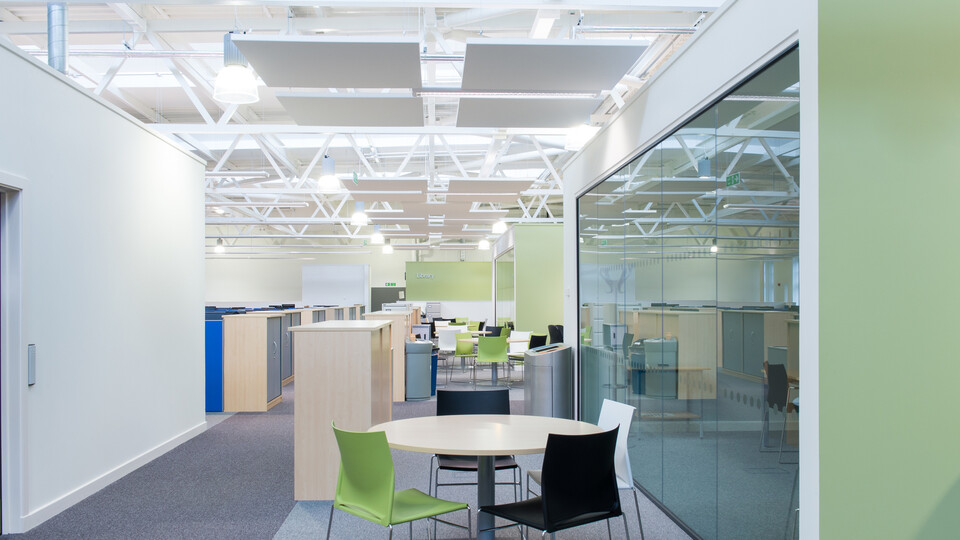 Acoustic ceiling solution: Rockfon Eclipse®, 1160 x 1160