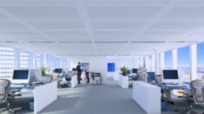 Rockfon Metal dB, 3D rendering, open plan office