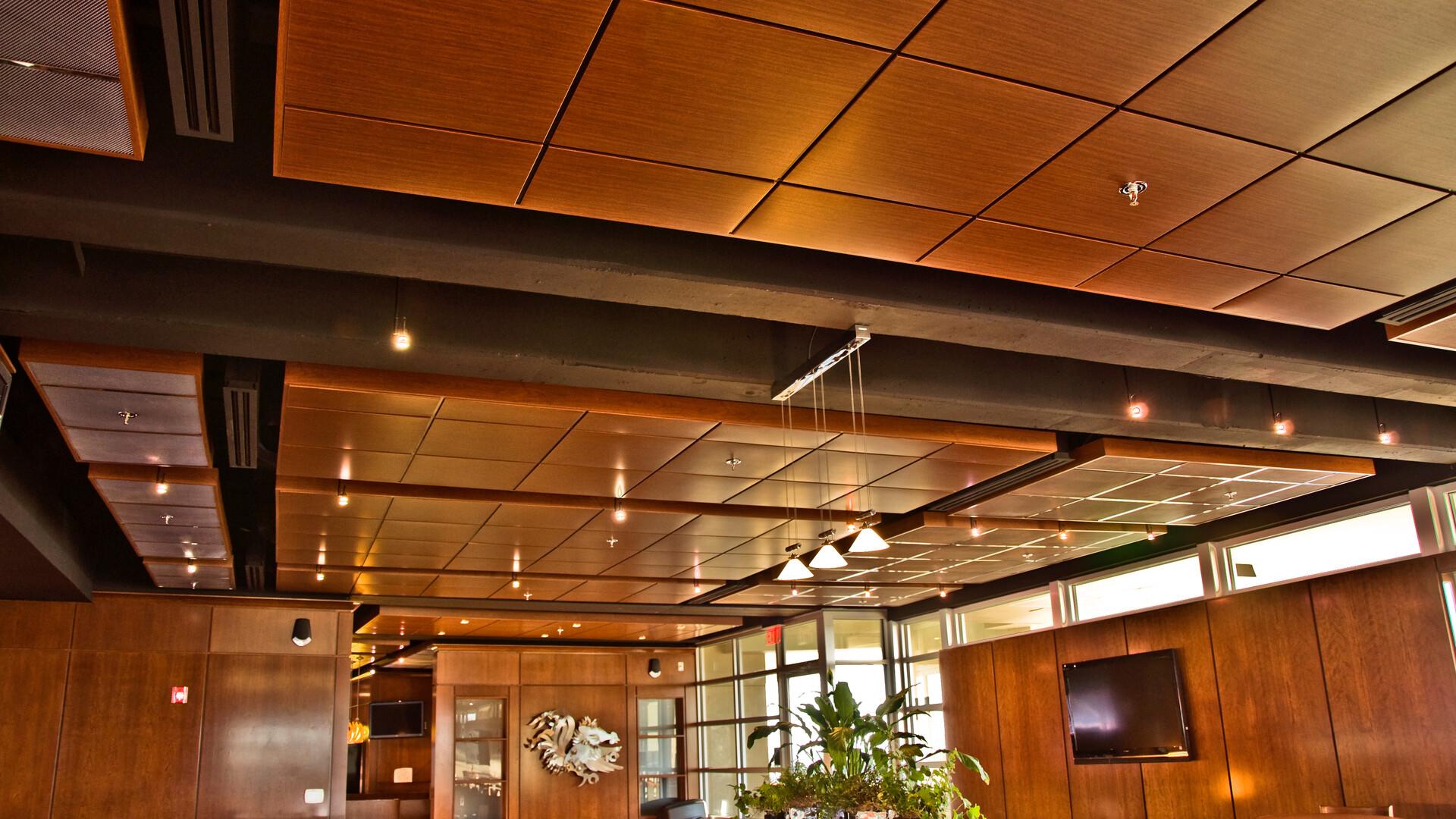 "Featured products: Rockfon® Planar® and Planar® Plus Linear Ceilings - Rockfon® Planostile™ Lay-in Metal Panel Ceiling System - Rockfon® Infinity™ Standard Perimeter Trim - Rockfon® Cubegrid® Open Plenum 15/16"" Ceiling"