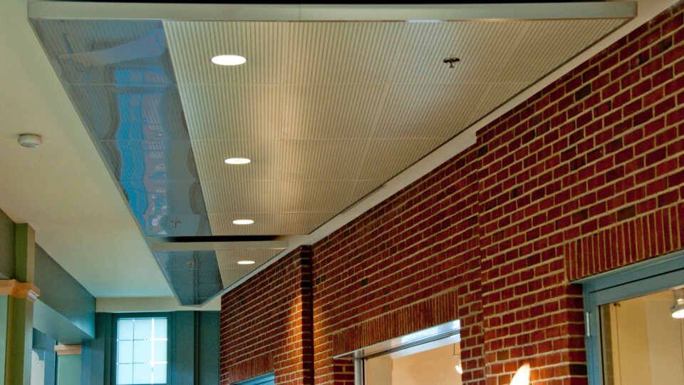 Featured products: Rockfon® Planostile™ Snap-in Metal Panel Ceiling System - Rockfon® Infinity™ Standard Perimeter Trim