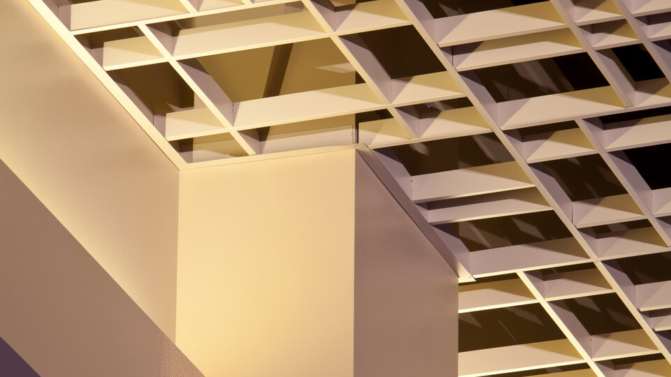 Featured products: Rockfon® Magna T-Cell™ Open Plenum Ceiling System