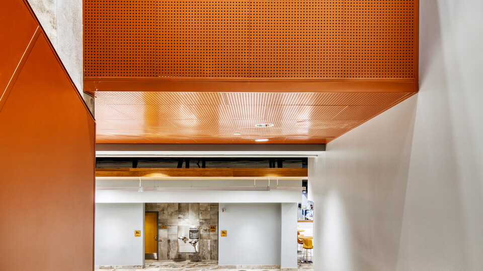 Featured products: Rockfon® Infinity™ Standard Perimeter Trim - Rockfon® Planostile™ Snap-in Metal Panel Ceiling System