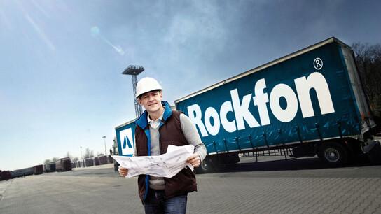 truck, lorry, logistics, transport, rockfon, man in front of truck