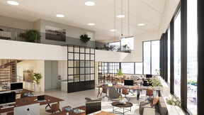 reference project, case study, 3d rendering, DGNB, office, Copenhagen, Denmark, cph highline, ventilated acoustic ceiling, work environment, health, skanska
