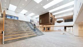 DK, Politiskolen, Vejle, Erik Arkitekter, Svend Christensen, Education, Reception, Rockfon Sonar, X-Edge, 600x600, white