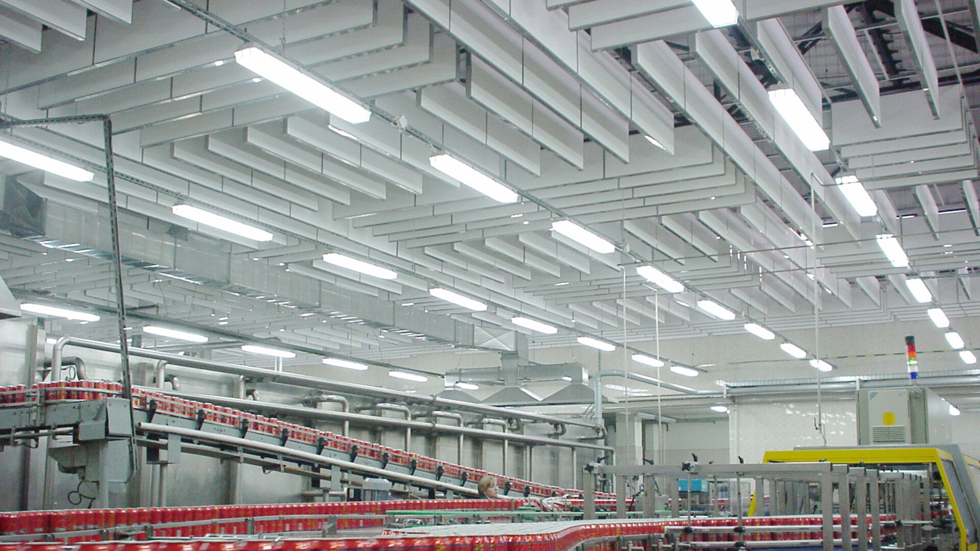 Acoustic baffles with Rockfon Industrial Baffle, for noisy industrial environments