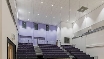 Acoustic ceilings with Rockfon Blanka dB 41 acoustic ceiling tiles (room to room sound insulation & high sound absorption)