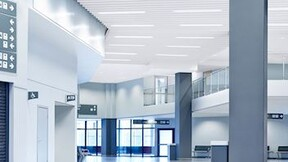 Acoustic baffles with Rockfon Humitec Baffle (free-hanging acoustic solutions, perfect for humid or harsh indoor environments)