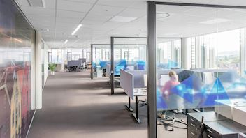 Sound insulating and sound absorbing ceiling with Rockfon Blanka dB 43 acoustic ceiling tiles