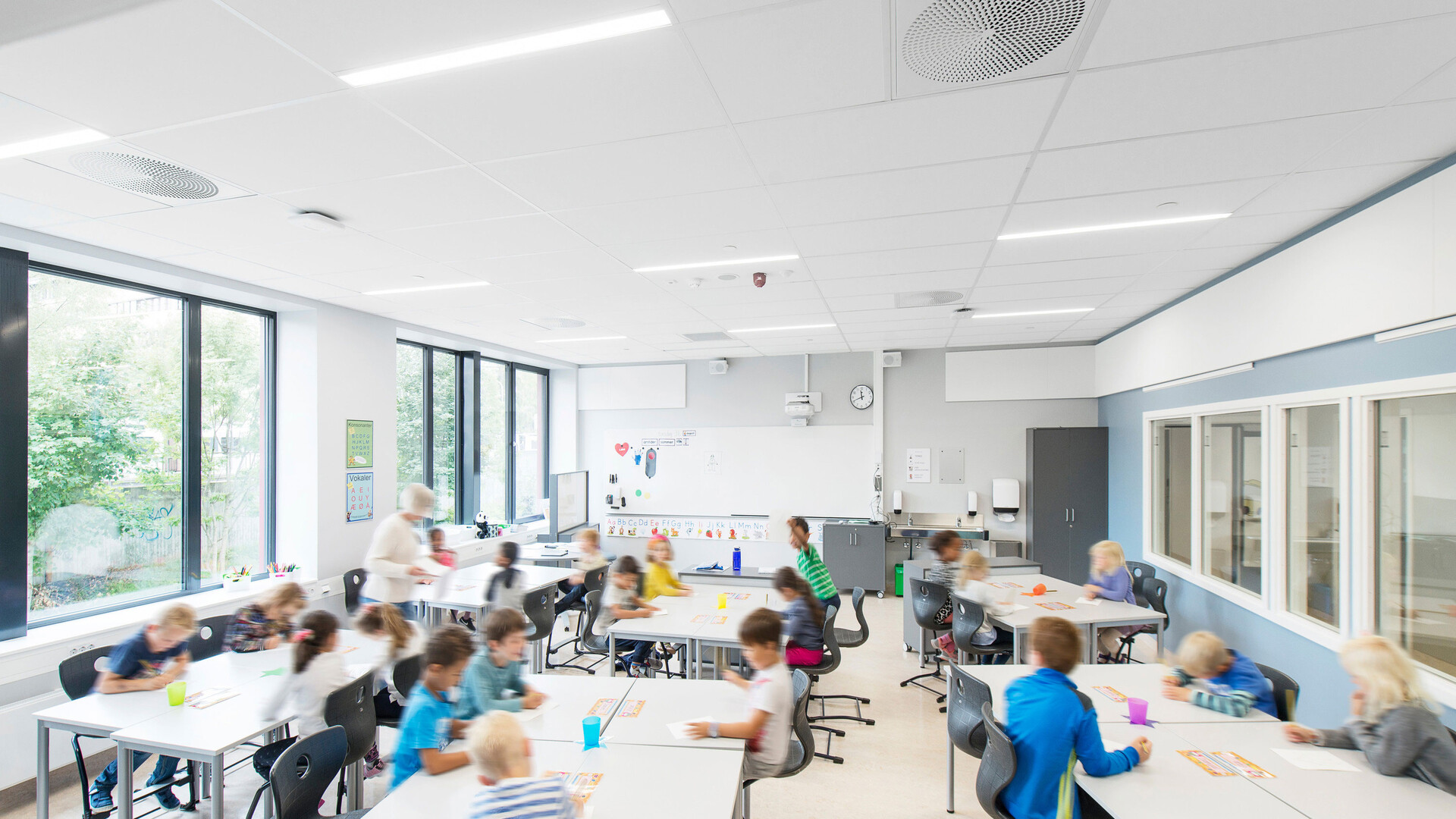 Acoustic suspended ceiling with Rockfon Blanka Activity ceiling tiles (for classrooms and open plan offices)