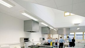 Acoustic ceiling with Rockfon Hygienic Plus ceiling tiles (Highest sound absorption & fire safety, cleanroom classification)