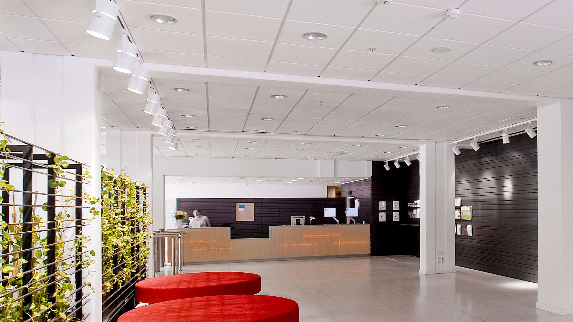 Acoustic ceiling with Rockfon Koral acoustic ceiling Tiles (Class A Sound absorption, stone wool tile)