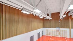 Acoustic ceiling in sports facilities with Rockfon Samson sound absorbing ceiling tiles